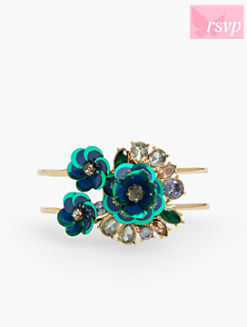 Sequined-Flower Double Cuff Bracelet