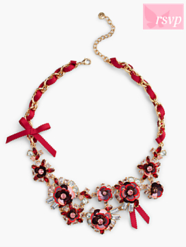 Sequined-Flower and Ribbon Necklace
