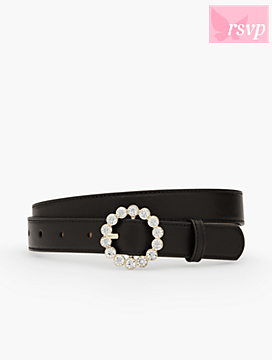 Jewel-Buckle Leather Belt