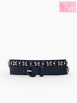 Crystal-Embellished Faille Belt