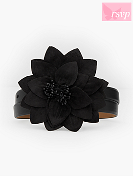 Velvet Flower-Buckle Leather Belt