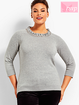 Embellished Ruffle-Neck Back Bow Sweater