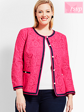 Flower-Filled Corded Lace Jacket