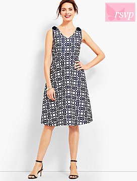 Jacquard Daisy-Print Fit & Flare Dress