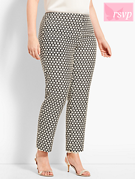Plus Size Exclusive Jacquard Ankle Pant - Butterfly