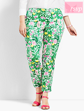 Plus Size Exclusive Slim Ankle Pant - Garden Print