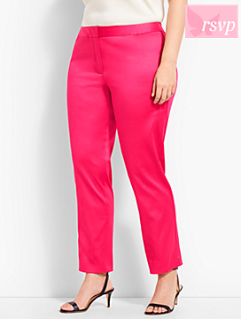 Plus Size Exclusive Sateen Slim Ankle Pant