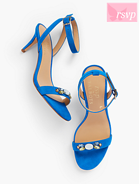 Rosalie Bejeweled Suede Sandals