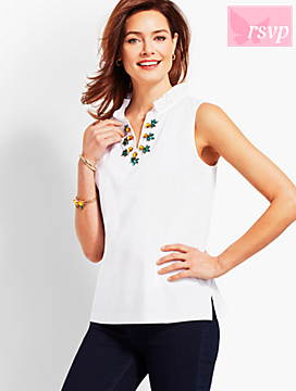 Poplin Pineapple-Embellished Shell