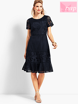Mixed Lace Fit-And-Flare Dress