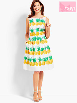 Fresh Pineapple Fit-and-Flare Dress