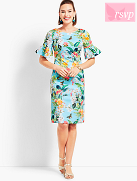Botanical Flounce-Sleeve Sheath Dress