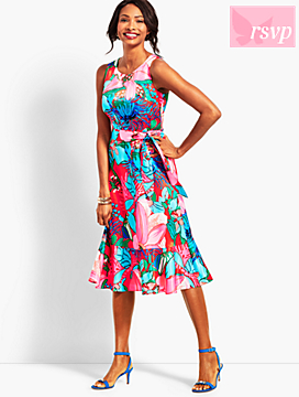 Tropical Floral Fit-And-Flare Dress