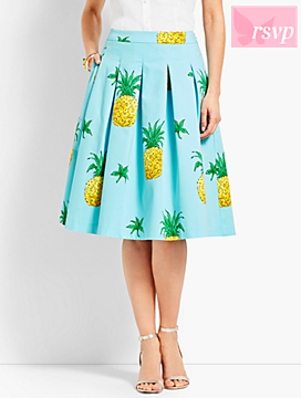 Pineapple-Print Pleated Full Skirt