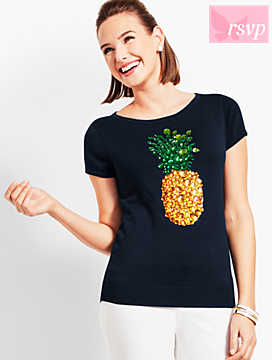Sparkle-Embellished Pineapple Sweater