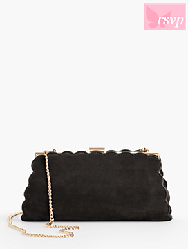 Kid Suede Scallop-Edge Handbag