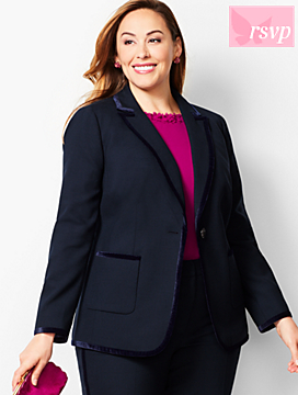 Velvet-Trim Bi-Stretch Wool Blazer