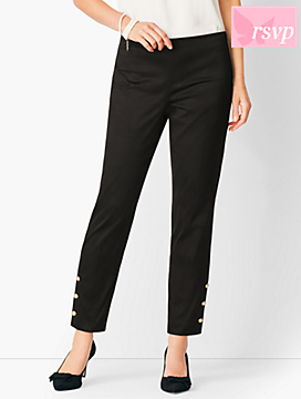 Button-Hem Sateen Slim Ankle Pants