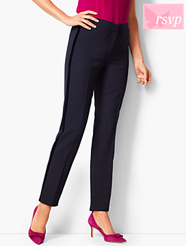 Velvet-Trim Slim-Ankle Pant