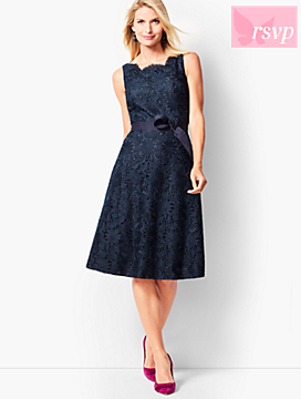 Scallop-Edge Fit & Flare Dress