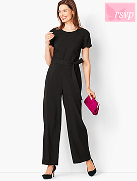 Tailored Crepe Wide-Leg Jumpsuit