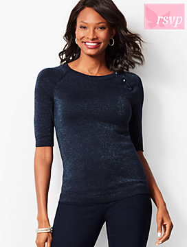 Button-Shoulder Shimmer Sweater