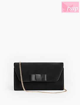 Suede Bow Clutch