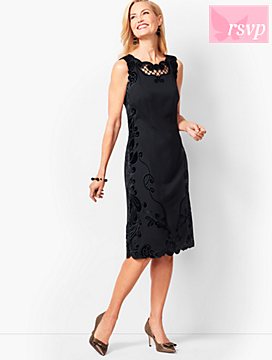 Embroidered Ponte & Velvet Sheath Dress