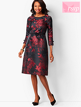 Grosgrain-Trim Jacquard A-Line Dress