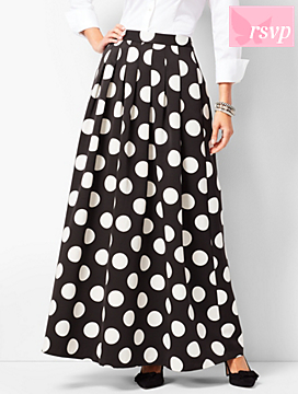 Pleated Dot Maxi Skirt