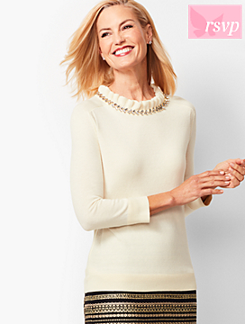 Embellished-Neck Top