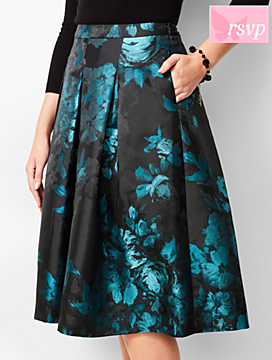 Painted Floral Pleated Fit & Flare Skirt