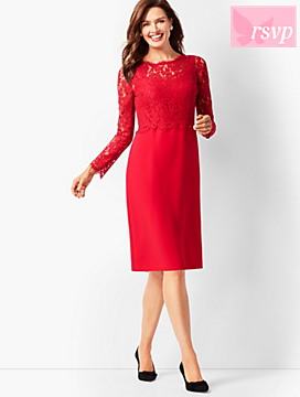 Scallop-Edge Lace & Crepe Dress