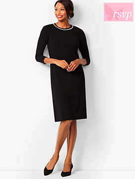 Diamanté-Trim Sweater Sheath Dress