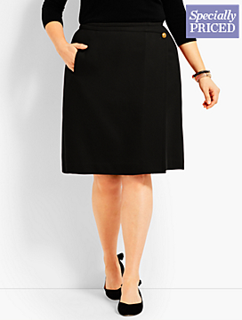 Wool Twill Wrap Skirt