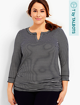 UPF 50+ Side-Ruched Tee-Voyage Stripes
