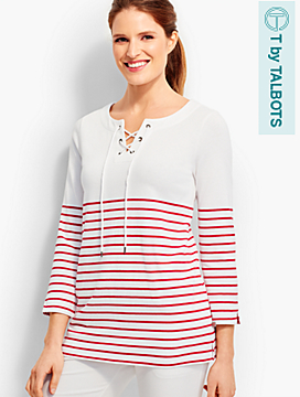 Piper-Stripes Lace-Up Pullover