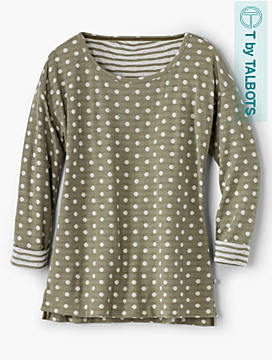 Dots & Stripes Double-Knit Pullover