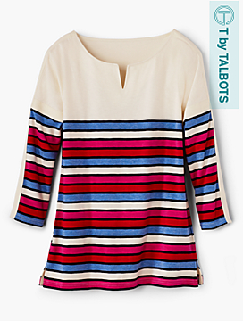 Block-Stripe Pullover