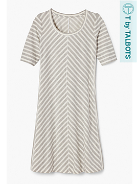 Miter-Stripes Elbow-Sleeve Dress