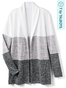 Soft-Drape Jersey Colorblocked Cardigan