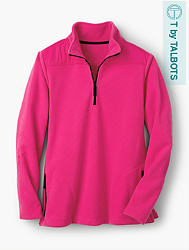 Diamond-Textured Half-Zip Fleece