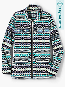 Fair Isle Print Fleece Jacket