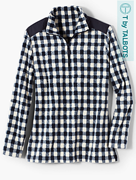 Grid Check Fleece Half-Zip Pullover