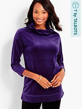 Luxe Velour Cowl Neck Tunic