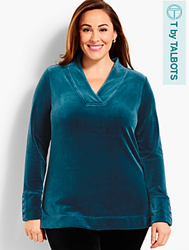 Luxe Velour V-Neck Top