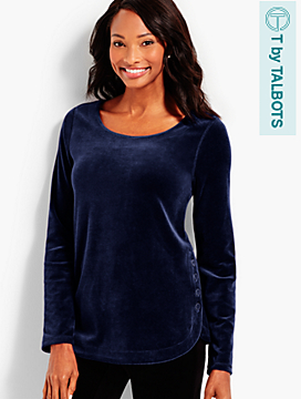 Luxe Velour Side-Button Top