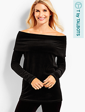 Luxe Velour Off-The-Shoulders Tunic
