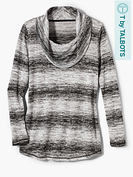 Ombré Stripe Cowl Neck Tunic
