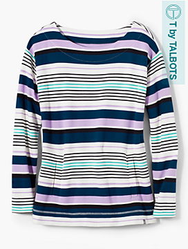 Ribbon Stripe Brushed Terry Pullover